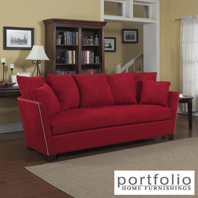 Portfolio Lucie Red Microfiber Flared Arm Sofa