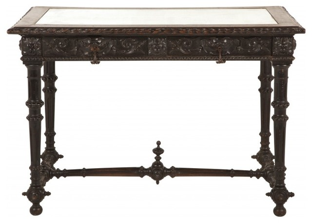 Antique Carved Mirror Top Table Traditional Side