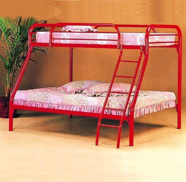 Yuan Tai Furniture Metal Bunkbed Twin Over Full 2 Red