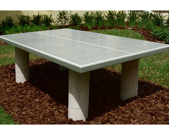 Ping Pong Table - This is a custom outdoor ping pong table done in our Slate Gray concrete. This table shows the versatility and durability of our products, remaining outdoors, in the elements year round. Priced at $70 per square foot.