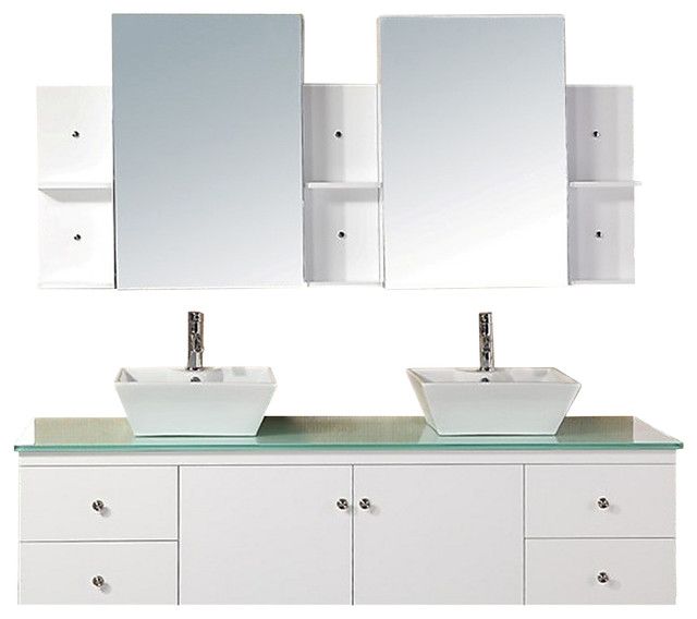 ... Mount Double Vessel Sink Vanity Set - White modern-bathroom-vanities