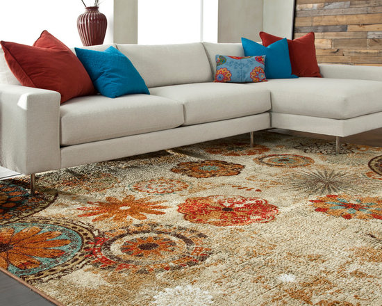Mohawk Home Caravan Medallion Rug - The mix of florals and shapes in varied jewel tones make this rug a conversation piece. This rug is stain and fade resistant and is sure to be beautiful for years.