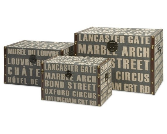 """IMAX CORPORATION - Central Line Storage Trunks - Set of 3 - Central Line Storage Trunks. Set of 3 trunks in varying sizes measuring approximately 11.75-13.5-18.5""""H x 19.75-23.75-28""""W x 11-14.75-17.75"""" each. Shop home furnishings, decor, and accessories from Posh Urban Furnishings. Beautiful, stylish furniture and decor that will brighten your home instantly. Shop modern, traditional, vintage, and world designs."""