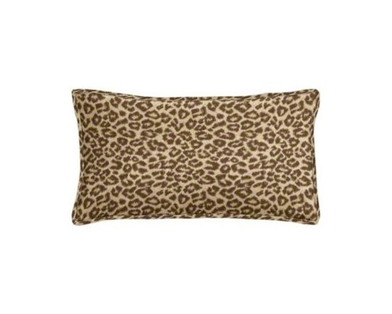 """Cushion Source - Wild Thing Walnut Leopard Outdoor Lumbar Pillow - The 20"""" x 12"""" Wild Thing Walnut Leopard Outdoor Lumbar Pillow features leopard print in chocolate brown on a tan background."""
