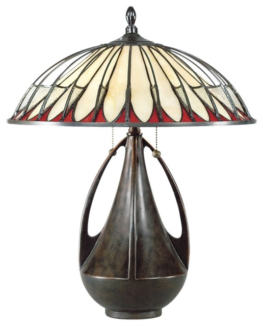 Arts and Crafts - Mission Quoizel Alhambra Tiffany Table Lamp modern-table-lamps