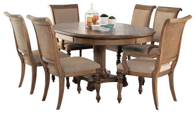 American drew grand isle 7 piece round dining room set in for Traditional round dining table sets