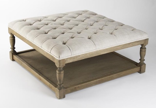 Zentique Square Tufted Ottoman traditional-footstools-and-ottomans