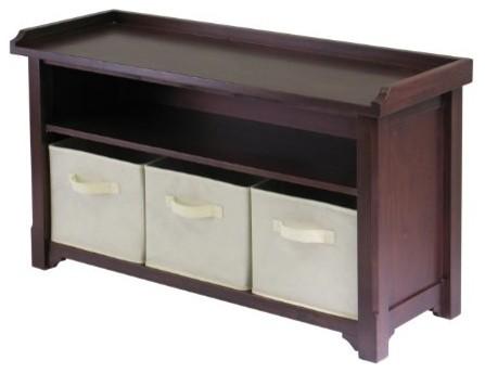 Storage Bench with 3 Fabric Baskets, Beige modern-storage-cabinets