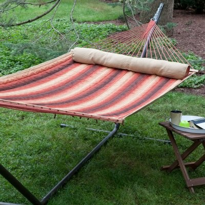 Island Bay Dura-Weave Quilted Hammock with Steel Stand modern-hammocks-and-swing-chairs