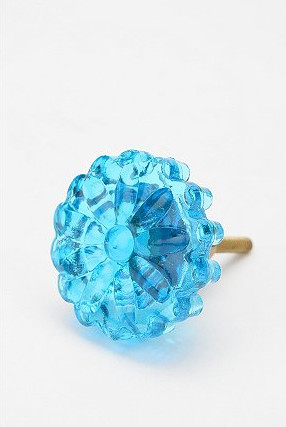 Pressed Glass Flower Knob, Turquoise modern knobs