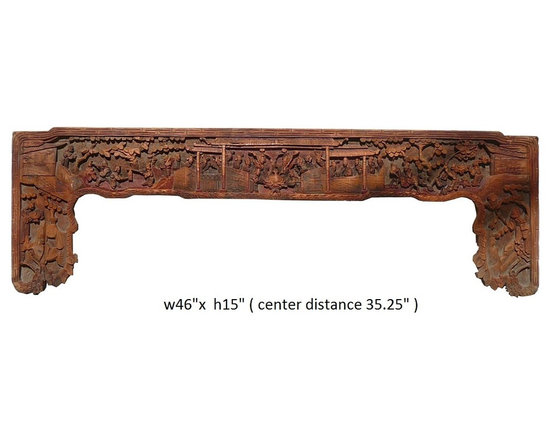 Old Chinese Ancient Scenery Carving Wall Decor Panel Frame - This is an old panel / carving wood art with precise ancient Chinese scenery carving. It can be as a wall accent decoration or reframed as mirror or others.