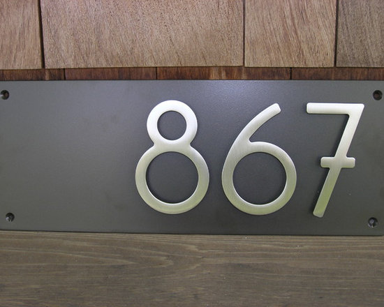 "Custom Modern Dark Bronze Plaque with 5"" Bungalow House Numbers - This is a new product we're offering, measuring 18""long x 7"" high x 3/16"" thick. Your three-digit address sits aligned to the right for a contemporary twist on address plaques. You choose the finish for the plaque and for the numbers. Plaques arrive completely assembled; all you need to do is install it to your preferred location."