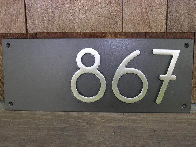 Custom modern dark bronze plaque with 5 bungalow house for Bungalow house numbers