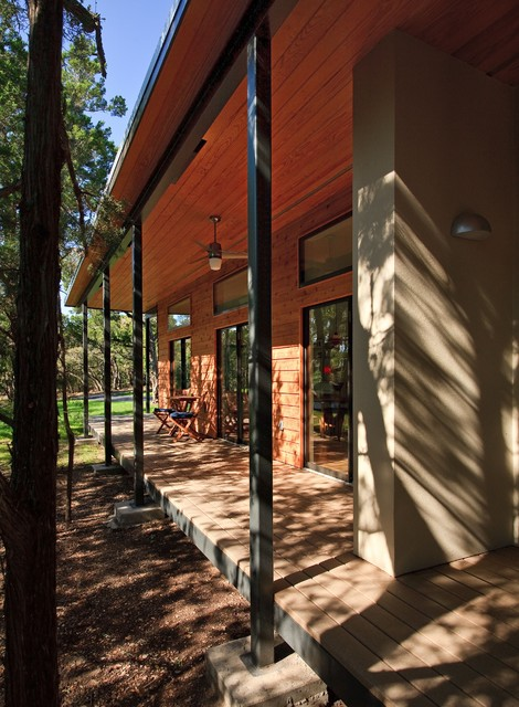 MILHouse Porch from woods modern-porch