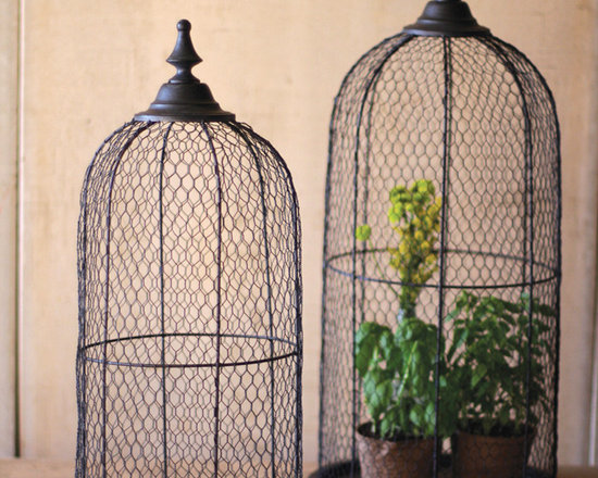Wire Bird Cage Dome (Set of 2) - These unique, hand-crafted accessories are imported from small cottage industries in Colombia, Honduras, Haiti, Morocco, and more.
