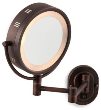 bronze lighted hardwired wall mount mirror contemporary makeup mirrors. Black Bedroom Furniture Sets. Home Design Ideas