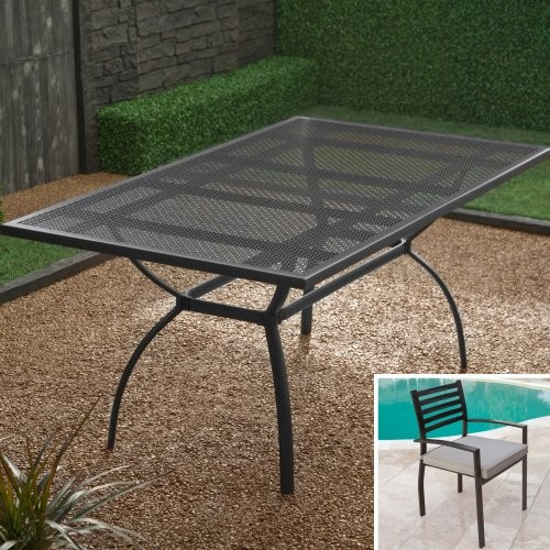 Maya Slat Back Dining Set - Seats Up To 6 contemporary-outdoor-tables