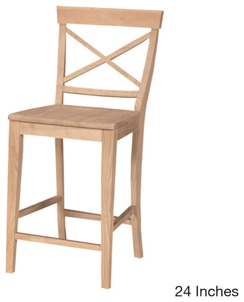 unfinshed solid parawood x back stool contemporary bar