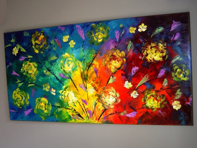 Original modern oil painting on canvas 48x24 large bright for Bright flower painting