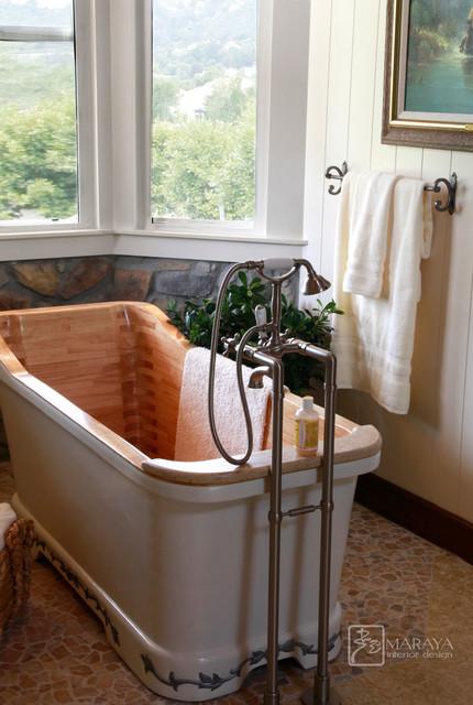 Ranch Master Bath Wood Tub farmhouse-bathroom