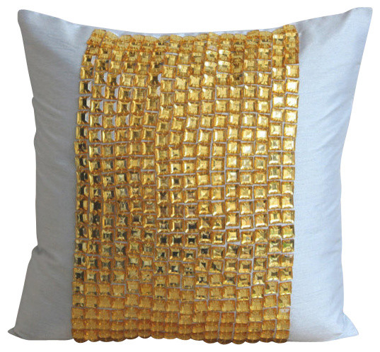 Light Blue Silk Throw Pillow : Gold Bling Decorative Light Blue Silk Throw Pillow Cover, 24x24 traditional-bed-pillows