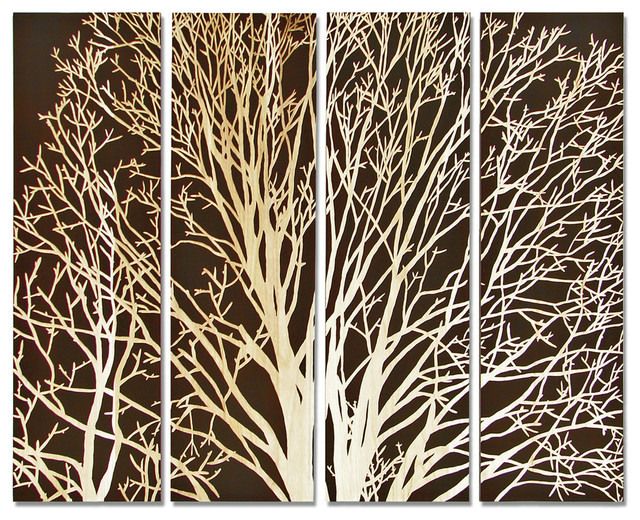 Decorative Wall Mirror With Tree Design : Spring tree wall decor set of contemporary