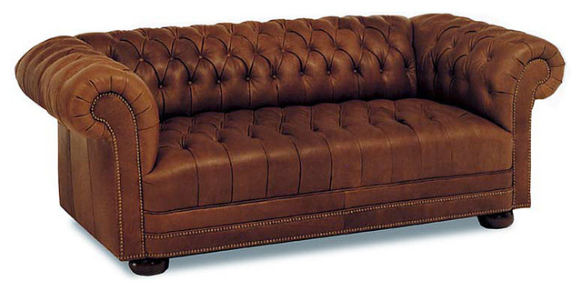 Chesterfield Tufted Leather Sofa Traditional Sofas