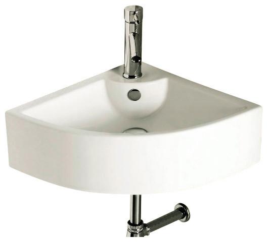 Corner White Ceramic Wall Mounted or Vessel Bathroom Sink, One Hole ...