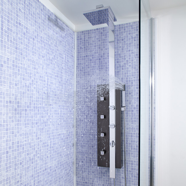 Metal shower tower column panel system body jets modern for Shower tower with body jets