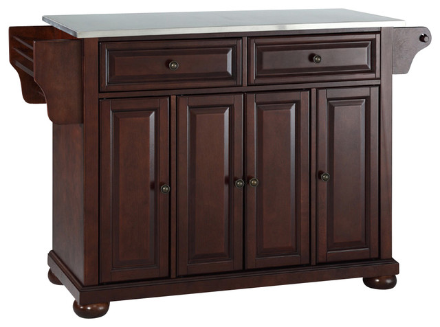 Alexandria Stainless Steel Top Kitchen Island in Vintage Mahogany Finish traditional-kitchen-islands-and-kitchen-carts