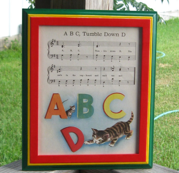 Framed 1944 Nursery Rhyme With Music by BRozypalcrafts traditional nursery decor