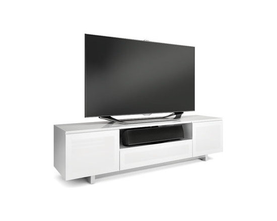 Furniture - The modern design of the NORA cabinet creates a sleek home for a flat panel TV and components. Available in two profiles, NORA is a standard depth for larger home theater systems, while NORA SLIM is perfect for systems with shallow components. Both models feature two adjustable side component compartments with soft-close doors. The center of the cabinets include an open speaker/component compartment and a flip-down door that conceals two additional component compartments.