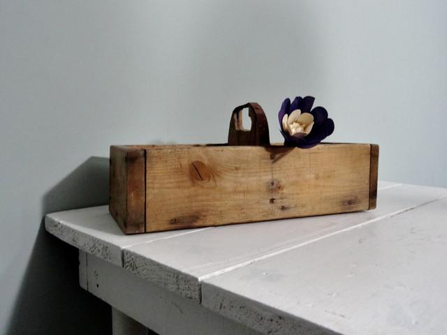Vintage Wood Box Industrial Storage Rustic Desktop