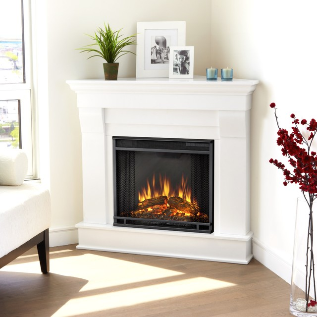 Real flame white chateau corner electric fireplace for Ventless fireplace modern