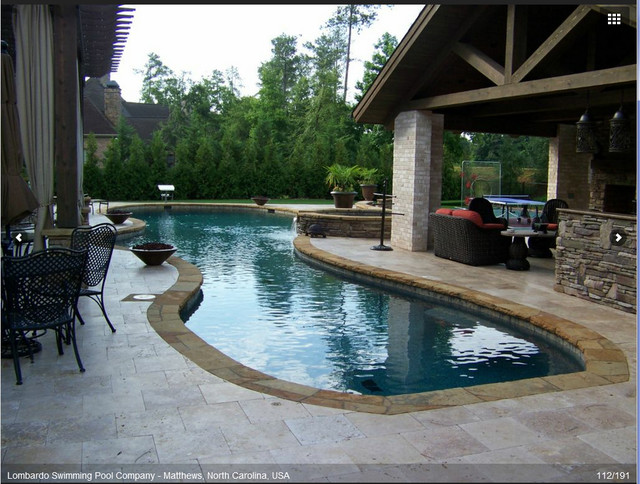 Pool with covered patio for Pool design houzz