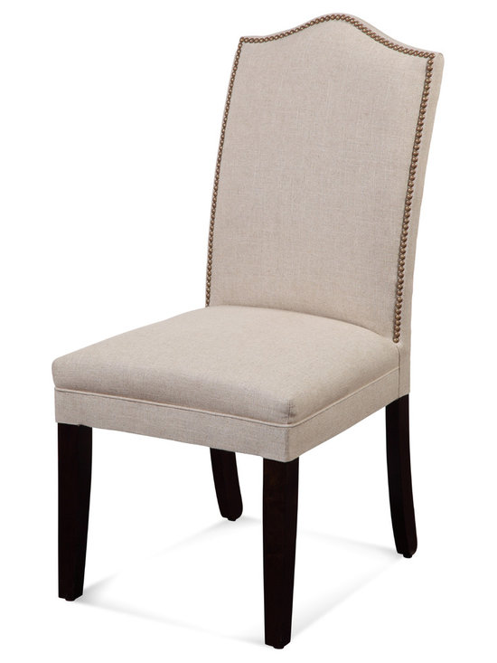 Bassett Mirror - Nailhead Parsons Chairs, Set of 2 - Style your transitional decor with these Nailhead Parsons Chairs. Featuring a textured taupe fabric, brass nailhead and solid black legs, this set of two chairs makes a a simple and elegant statement at your dining room or kitchen table.