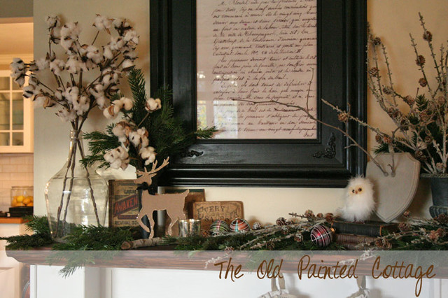 Winter Inspired Holiday Mantel traditional