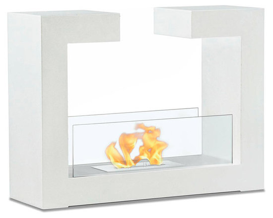 Moda Flame - Beja Free Standing Floor Indoor Outdoor Ethanol Fireplace - White - Beja modern fireplace has a distinctive contemporary look as a fun geometric shape that is sure to impress. constructed from highest grade of steel, powder coated, includes tempered glass on either side to act as a barrier from the real flame of the fire.