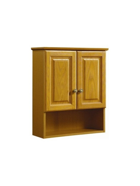 "DHI-Corp - Claremont Honey Oak Wall Cabinet with 2-Doors, 21"" by 8"" by 26"" - The Design House 531962 Claremont Honey Oak Wall Cabinet features a honey oak finish with antique brass hardware. Perfect for a shabby chic or vintage inspired room, this cabinet has clean lines and concealed hinges. The 2-door design and open shelf configuration make it easy to store small or medium sized items with ease. Measuring 21-inches by 8-inches by 26-inches, this cabinet is ideal for storing small towels, linens and household supplies. Modern construction meshes with subtle vintage details for an elegant addition to any sized bathroom. This product is perfect for remodeling, conveniently fits above your toilet and will match granite countertops and colored walls. This cabinet comes with cam-lock connectors for fast and easy assembly. The Design House 531962 Claremont Honey Oak Wall Cabinet has a 1-year limited warranty that protects against defects in materials and workmanship. Design House offers products in multiple home decor categories including lighting, ceiling fans, hardware and plumbing products. With years of hands-on experience, Design House understands every aspect of the home decor industry, and devotes itself to providing quality products across the home decor spectrum. Providing value to their customers, Design House uses industry leading merchandising solutions and innovative programs. Design House is committed to providing high quality products for your home improvement projects."