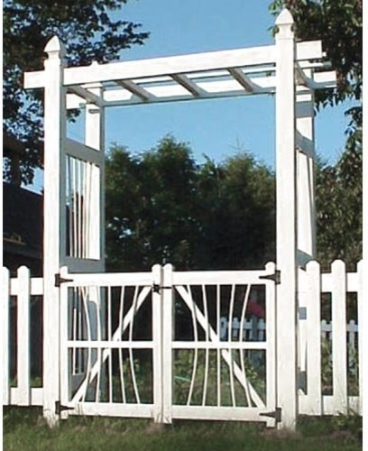Dura-Trel Courtyard 6.5-ft. Vinyl Pergola Arbor with Gate contemporary-outdoor-products