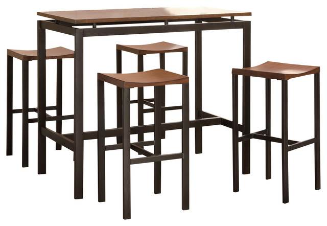 Counter Height Metal Table : Atlus Counter Height Dining Set Black Metal Table w/ Warm Oak Top 4 ...