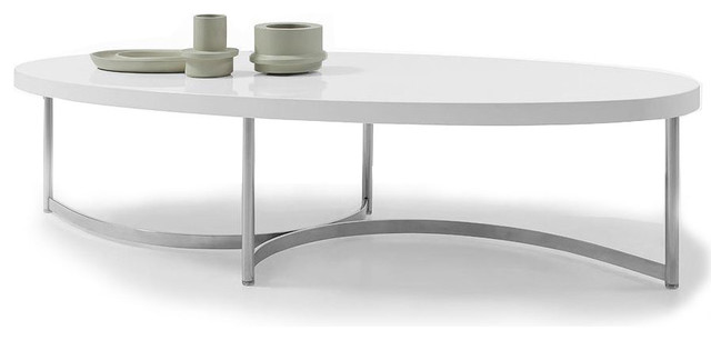 MODERN WHITE LACQUER OVAL COFFEE TABLE SUMU Modern Coffee Tables
