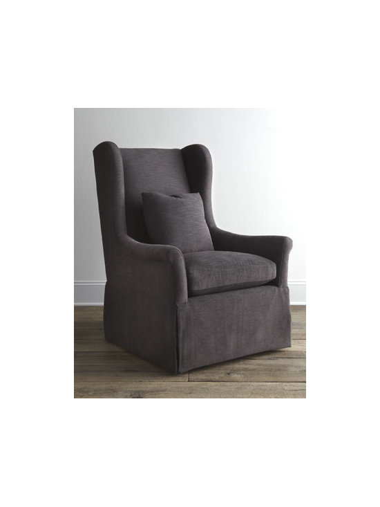 "Bernhardt - Bernhardt ""Hepler"" Host Chair - Upholstered host chair offers traditionally influenced classic style that works equally well in the dining room and other living areas. It features slightly rolled flair arms connect to a high winged back, plush box-faced seat cushion, waterfall skirt,...."