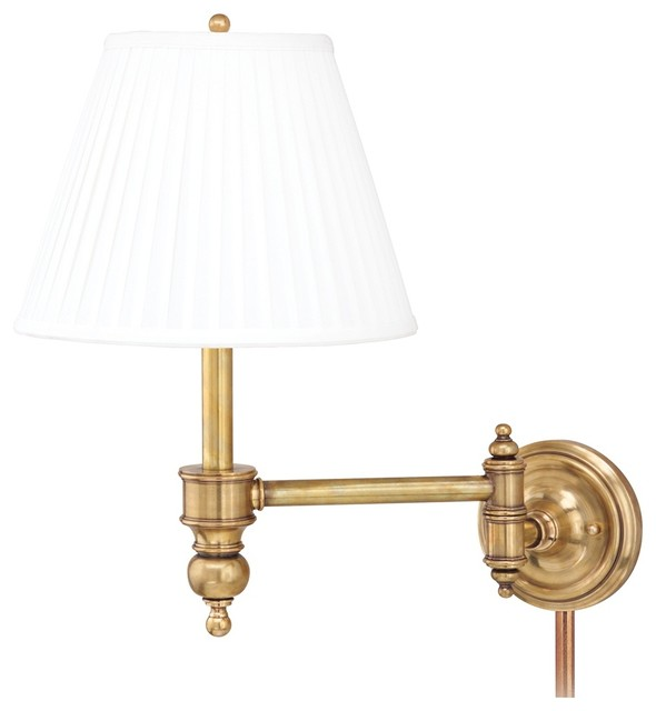 Chatham Aged Brass Plug-In Swing Arm Wall Lamp - Traditional - Swing Arm Wall Lamps