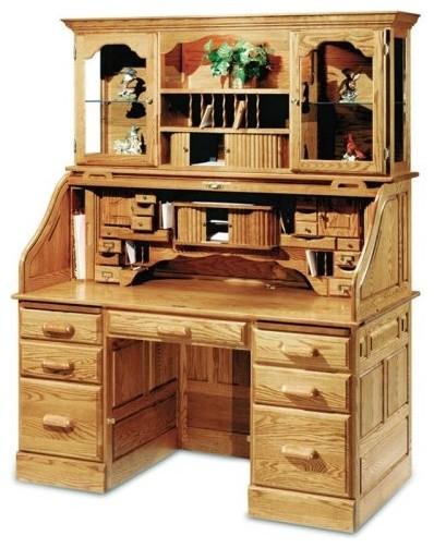 Haugen Americana Oak Deluxe Roll Top Desk With Optional