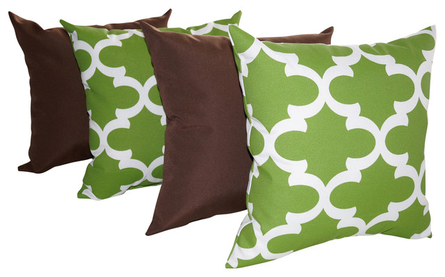 Solar Praline Brown and Fynn Bay Green Quatrefoil Outdoor Throw Pillows - 4 pack - Contemporary ...