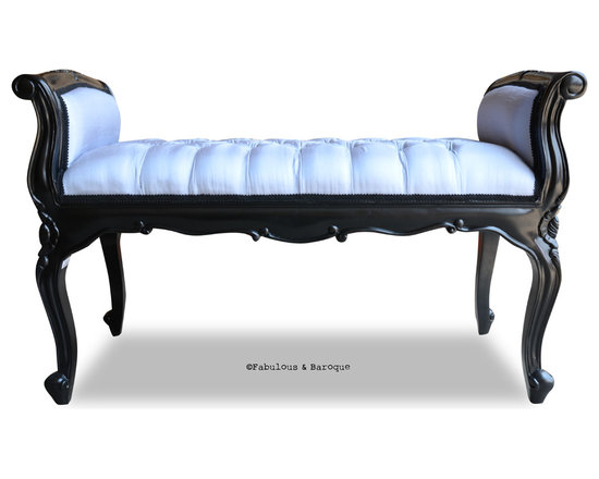 Fabulous and Baroque's Chairs & Benches - Fabulous & Baroque's Isadora French Upholstered Bench - Black & Grey