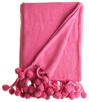 Pom Pom Blanket, Pink eclectic-throws