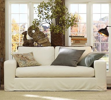 Solano Slipcovered Sofa, Down-Blend Wrap Cushions, Performance Tweed Ecru traditional-sofas