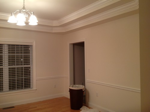 Dining room painting double trey ceiling chair rail for Color ideas for dining room with chair rail